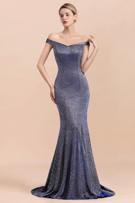 Gorgeous Off-the-shoulder Silver Prom Dresses Sparkly Sequin Long  Evening Dresses_8