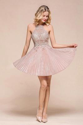 Gorgeous Pink Halter Lace Applique Short Prom Dresses A-Line Backless Formal Party Dresses_6