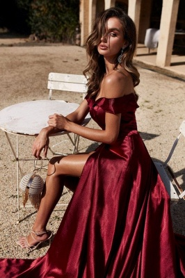 Stunning Off-the-Shoulder Front Slit Burgundy Prom Dresses  Mermaid Formal Party Dresses_3