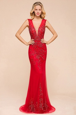 Sexy A-line V-Neck Red Prom Dresses Open Back Sleeveless Formal Dresses with Beaded Belt_4