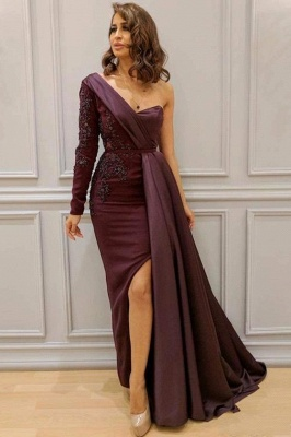 One-Shoulder Appliques Spandex Prom Dresses Open Back Evening Dresses with Waist Band_1