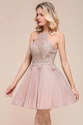 Gorgeous Pink Halter Lace Applique Short Prom Dresses A-Line Backless Formal Party Dresses_9