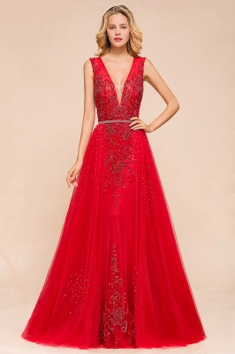 Sexy A-line V-Neck Red Prom Dresses Open Back Sleeveless Formal Dresses with Beaded Belt_1