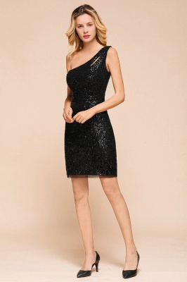 Black One-Shoulder Sequined Prom Dresses Sheath Short Formal Dresses_5