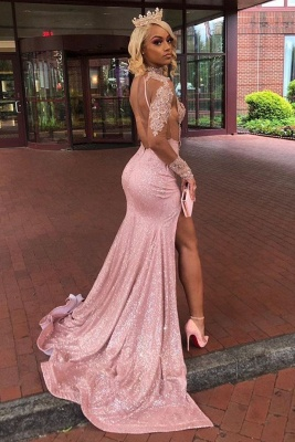 High Neck Long Sleeves Sheer Fitted Prom Dresses Sexy High Slit Evening Dresses_2