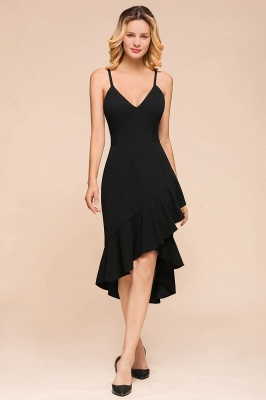 Stunning Black Spaghetti Strap Sweetheart Mermaid Short Prom Dresses Backless Rufffles Formal Dresses_1