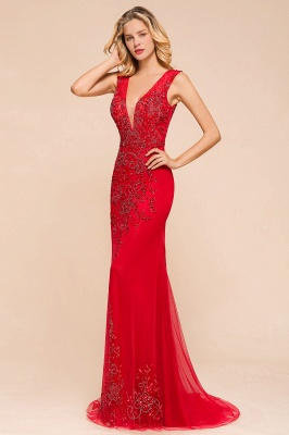 Sexy A-line V-Neck Red Prom Dresses Open Back Sleeveless Formal Dresses with Beaded Belt_8