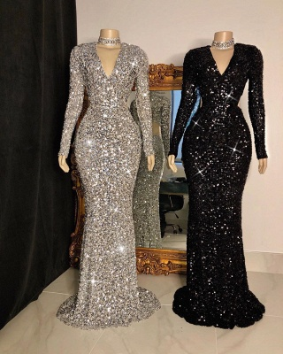 Modest V-Neck Long Sleeves Mermaid Prom Dress Sparkly Sequined Party Dresses with Rhinestones_2