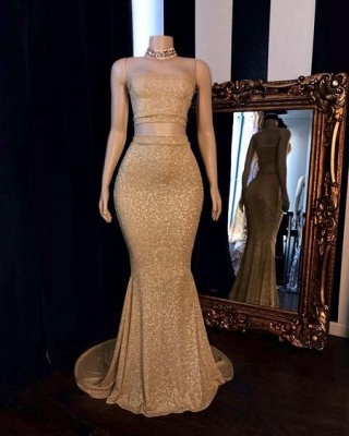 Gorgeous Two Piece Strapless Mermaid Prom Dress Sparkly Gold Sequins Formal Dresses Online_2