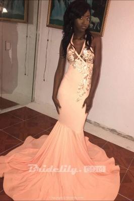 Affordable Pink Halter Floor Length Mermaid Prom Dress Floral Appliques V-Neck Formal Dresses Online_3