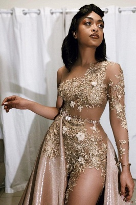 Exquisite Jewel Long Sleeves Sheer Prom Dress Appliques A-Line Formal Dresses On Sale_2