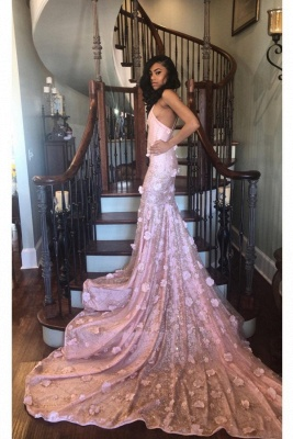 Simple High Neck Sleeveless Prom Dress Mermaid Long Evening Dresses with Handmade Flower_1