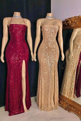 Sexy Spaghetti Straps Sequins Mermaid Prom Dress Sleeveless Criss-cross Back Evening Dresses with Front Slit_1