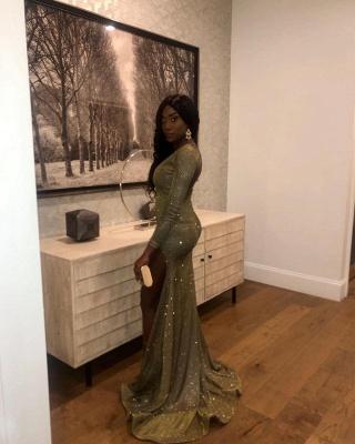 Glamorous V-Neck Thigh Slit Ruffle Prom Dress Long Sleeves Sequins Formal Dresses Online_2