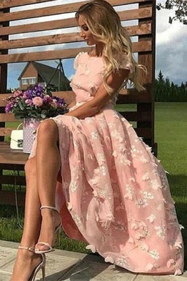 Fantastic Jewel A-Line Lace Pink Prom Dress Short Sleeves Appliques Party Dresses On Sale_1