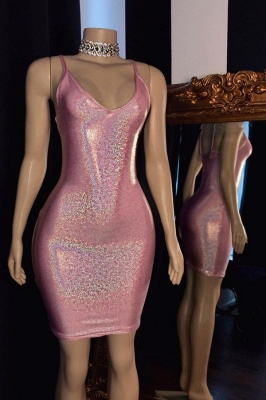 Glamorous V-Neck Pink Bodycon Short Prom Dress Sexy Spaghetti Straps Sparkly Sequins Party Dresses Online_1