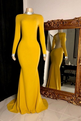 Fantastic High Neck Long-Sleeve Prom Dress Open Back Mermaid Formal Dresses On Sale_1