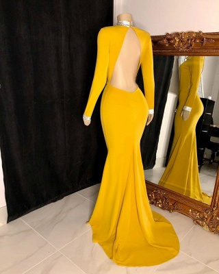 Fantastic High Neck Long-Sleeve Prom Dress Open Back Mermaid Formal Dresses On Sale_2