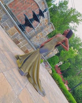 Glamorous Halter V-Neck Mermaid Prom Dress Floor Length Metallic Evening Dresses On Sale_2