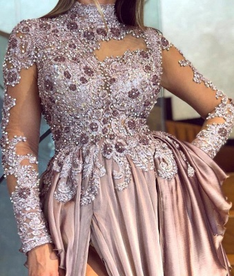 Stunning High Neck Rhinestones Pink Prom Dress Long Sleeves Side Slit Formal Party Dresses Online_2