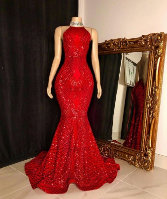 Sexy Halter Sleeveless Red Long Prom Dress Sequin Mermaid Formal Party Dresses On Sale_2
