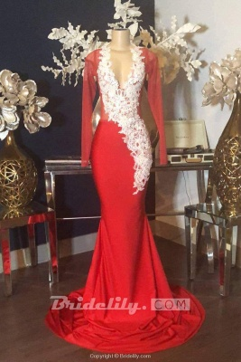 Elegant Long Sleeves Illusion Neckline Red Mermaid Prom Dress White Lace Appliques Evening Dresses On Sale_2