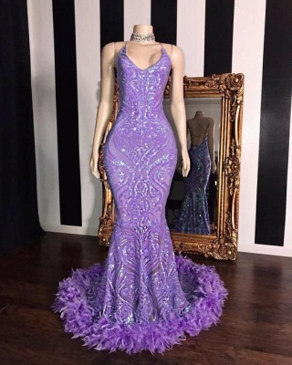 Gorgeous Spaghetti Straps Lilac Long Prom Dress Sequined Mermaid Evening Dresses with Fur Trimmed_2