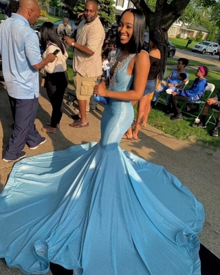 Sexy Deep V-Neck Straps Mermaid Prom Dress Affordable Lace Appliques Party Dresses with Sequins_2