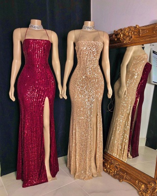 Sexy Spaghetti Straps Sequins Mermaid Prom Dress Sleeveless Criss-cross Back Evening Dresses with Front Slit_3