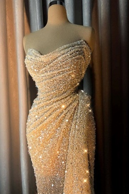 Glamorous Off-the-Shoulder Sweetheart Prom Dress Sparkly Sequined Ruffle Mermaid Evening Dresses_1