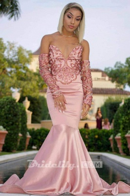 Gorgeous V-Neck Beading Pink Mermaid Prom Dress Strapless Long Sleeves Appliques Party Dresses On Sale_2