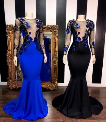 Modest Jewel Sheer Mermaid Long Prom Dress Long Sleeves Appliques Party Dresses Online_2