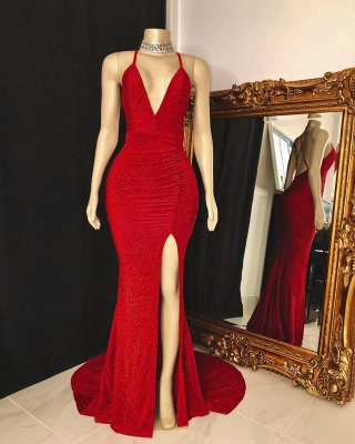 Modest Spaghetti Straps Deep V-Neck Prom Dress Sleeveless Slit Red Long Party Dresses On Sale_2