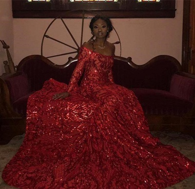 Glamorous Off-the-Shoulder Red Mermaid Prom Dress Stunning Long Sleeves Sequins Formal Dresses Online_4