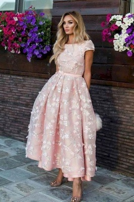 Fantastic Jewel A-Line Lace Pink Prom Dress Short Sleeves Appliques Party Dresses On Sale_3
