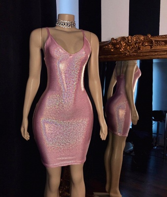 Glamorous V-Neck Pink Bodycon Short Prom Dress Sexy Spaghetti Straps Sparkly Sequins Party Dresses Online_2