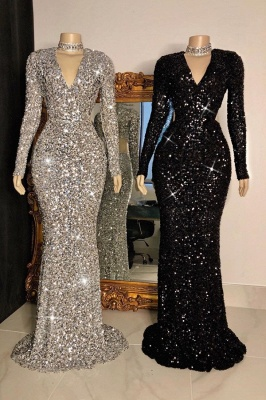 Modest V-Neck Long Sleeves Mermaid Prom Dress Sparkly Sequined Party Dresses with Rhinestones_1