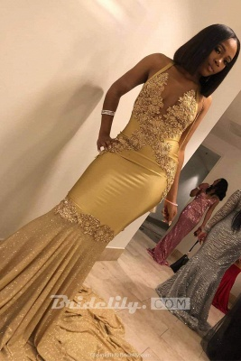 Stunning Spaghetti Straps Mermaid Gold Prom Dress Sexy V-Neck Appliques Sleeveless Formal Dresses On Sale_3