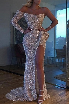 Sparkly Sequin One-Sleeve Pink Prom Dress Sexy High Slit Party Dresses On Sale_1