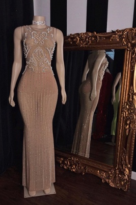 Modest Jewel Beaded See-Through Prom Dress Sleeveless Long Party Dresses with Pearls_1