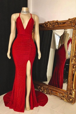 Modest Spaghetti Straps Deep V-Neck Prom Dress Sleeveless Slit Red Long Party Dresses On Sale_1