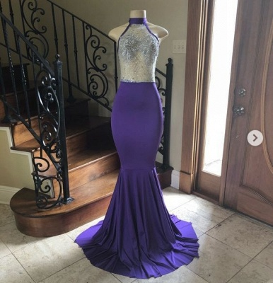 Modest High Neck Mermaid Floor Length Prom Dress Sexy Sheer Top Party Dreses Online_2