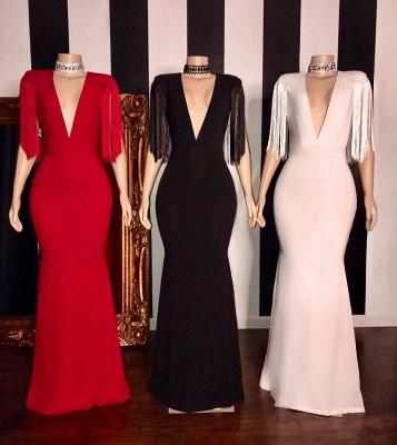 Exquisite Deep V-Neck Long Prom Dress Fringes Sleeves Formal Party Dresses Online_2
