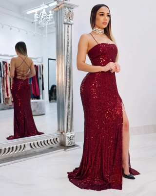 Sexy Spaghetti Straps Sequins Mermaid Prom Dress Sleeveless Criss-cross Back Evening Dresses with Front Slit_2