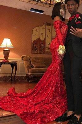 Glamorous Off-the-Shoulder Red Mermaid Prom Dress Stunning Long Sleeves Sequins Formal Dresses Online_3