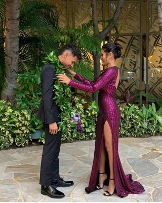 Gorgeous V-Neck Long Sleeves Sequin Prom Dress Sexy Open Back High Slit Evening Dresse On Sale_2