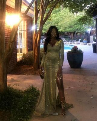 Glamorous V-Neck Thigh Slit Ruffle Prom Dress Long Sleeves Sequins Formal Dresses Online_3