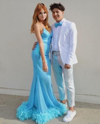Gorgeous Spaghetti Straps V-Neck Prom Dresses Sequined Blue Mermaid Formal Dresses_2