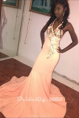 Affordable Pink Halter Floor Length Mermaid Prom Dress Floral Appliques V-Neck Formal Dresses Online_2
