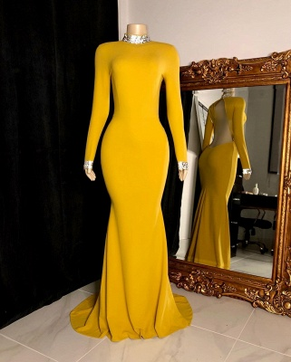 Fantastic High Neck Long-Sleeve Prom Dress Open Back Mermaid Formal Dresses On Sale_3